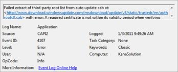 Even ID 4107 Error